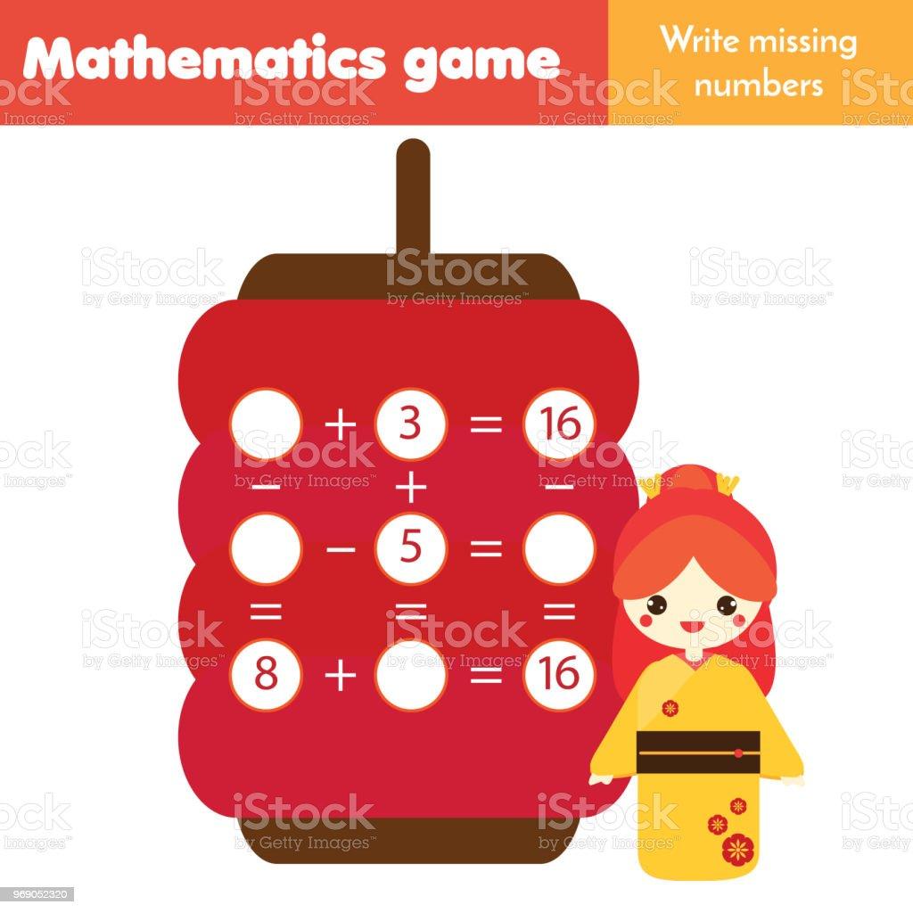 Lernspiel Für Kinder Zählen Gleichungen Subtraktion Und Addition Zu ...