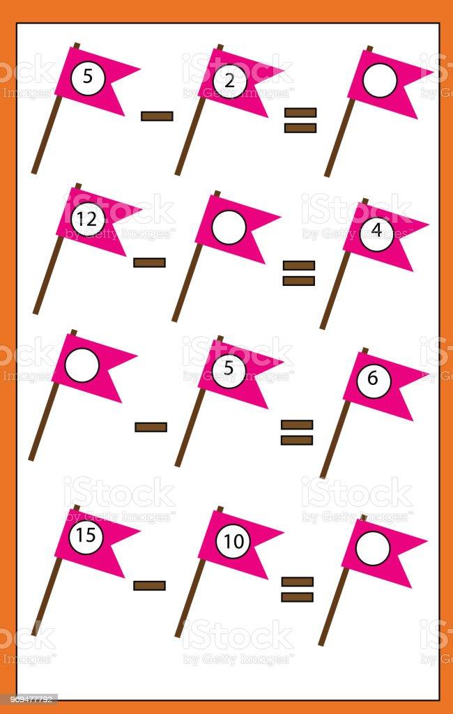 Lernspiel Für Kinder Zählen Gleichungen Subtraktion Zu Studieren ...