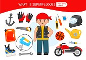 Educational game for children. Cartoon biker. Circle the objects that is unnecessary.