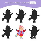 Educational  game for children. Find the right shadow. Kids activity with cute winter child.