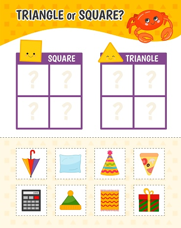 Educational game for children with pictures. Kids activity sheet. Square or triangle?  Cartoon illustration of square and triangle objects.