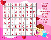 Educational game for children. Word search puzzle kids activity. St Valentines day theme theme learning vocabulary.
