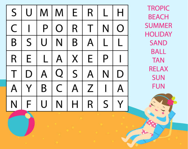 Royalty Free Beach Word Search Clip Art, Vector Images