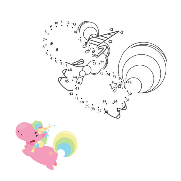 educational game for kids: dot to dot. connect the dots puzzle. worksheet for class or at home with the kids. draw unicorn - unicorn line drawings stock illustrations, clip art, cartoons, & icons