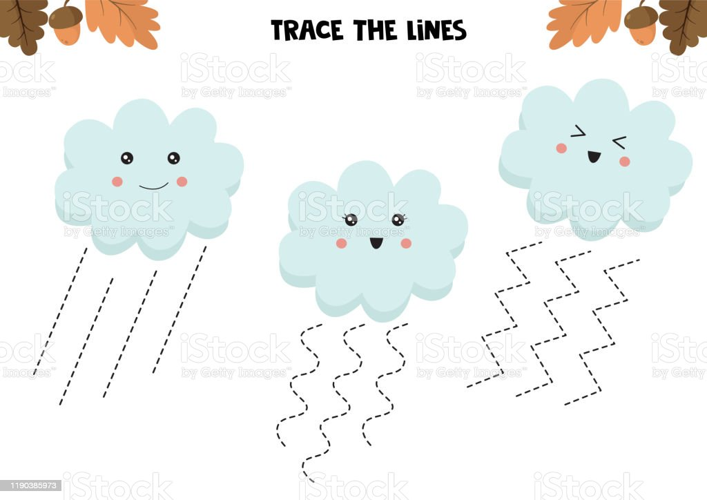 Educational Game For Kids Preschool Worksheet Trace The Lines Cute Clouds  Handwriting Practice Stock Illustration - Download Image Now - IStock