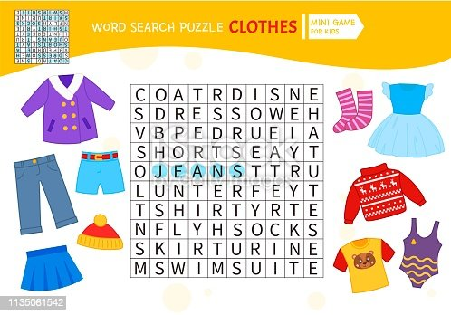 Educational game for kids. Word search puzzle with clothes. Kids activity sheet,