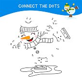 Educational game for kids. Dot to dot game for children. Cartoon cute snowman.