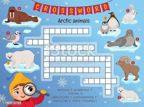 Educational game for kids. Crossword Arctic animals. Kids activity sheet,
