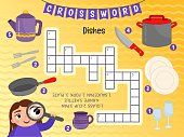 Educational game for kids. Crossword Dishes. Kids activity sheet,