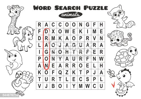 Educational Game For Kids Word Search Puzzle Stock Vector