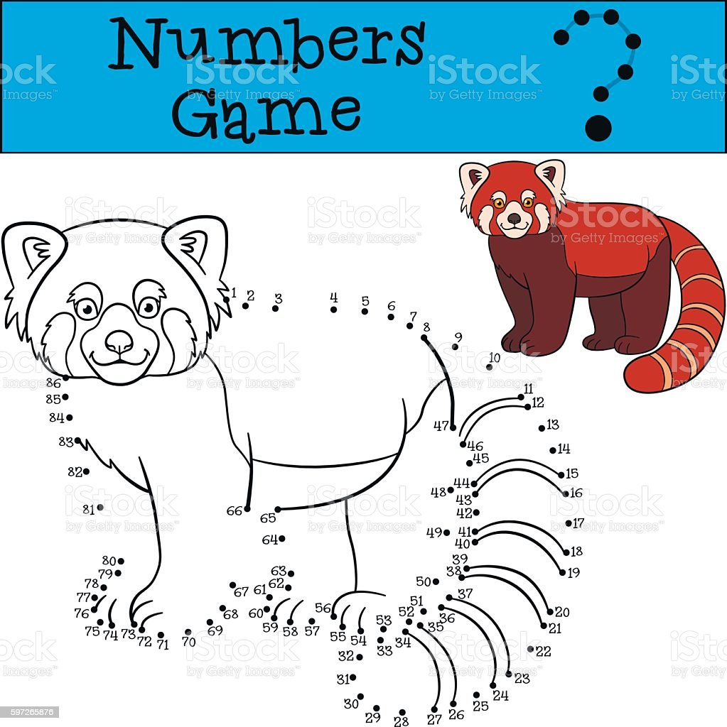 Educational game: Numbers game. Little cute red panda smiles. Lizenzfreies educational game numbers game little cute red panda smiles stock vektor art und mehr bilder von asien