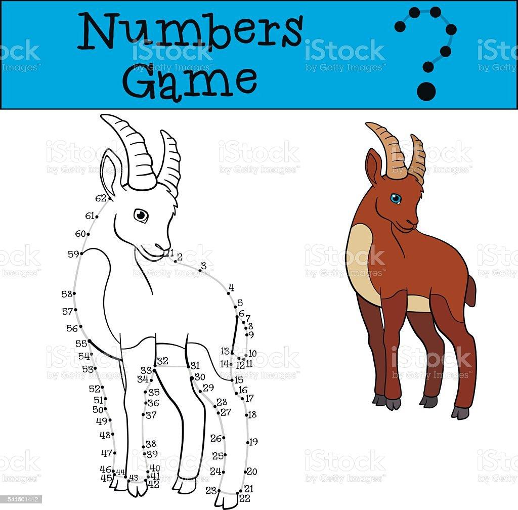 Jeux éducatifs : Numéros jeu avec contour. Joli Bouquetin. - Illustration vectorielle