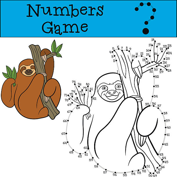 Educational game: Numbers game with contour. Cute lazy sloth. Educational game: Numbers game with contour. Cute lazy sloth hangs on the tree branch and smiles. baby sloth stock illustrations