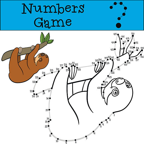 Educational game: Numbers game with contour. Little cute baby sl Educational game: Numbers game with contour. Little cute baby sloth hangs on the tree branch and smiles. baby sloth stock illustrations
