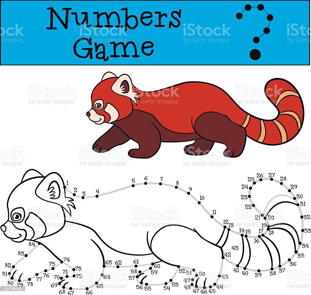 Educational game: Numbers game with contour. Little cute red pan Lizenzfreies educational game numbers game with contour little cute red pan stock vektor art und mehr bilder von asien