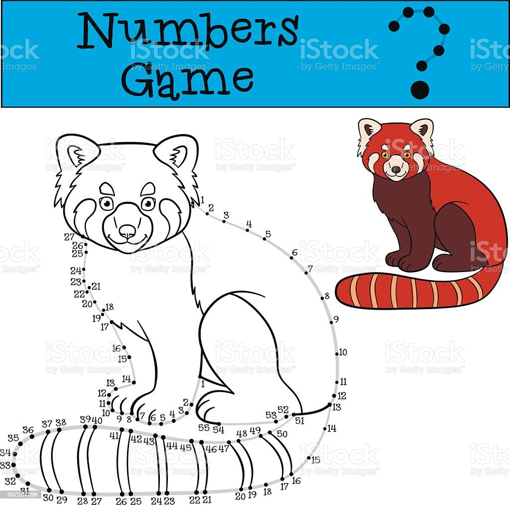 Educational game: Numbers game with contour. Little cute red pan royalty-free educational game numbers game with contour little cute red pan stock vector art & more images of adversity