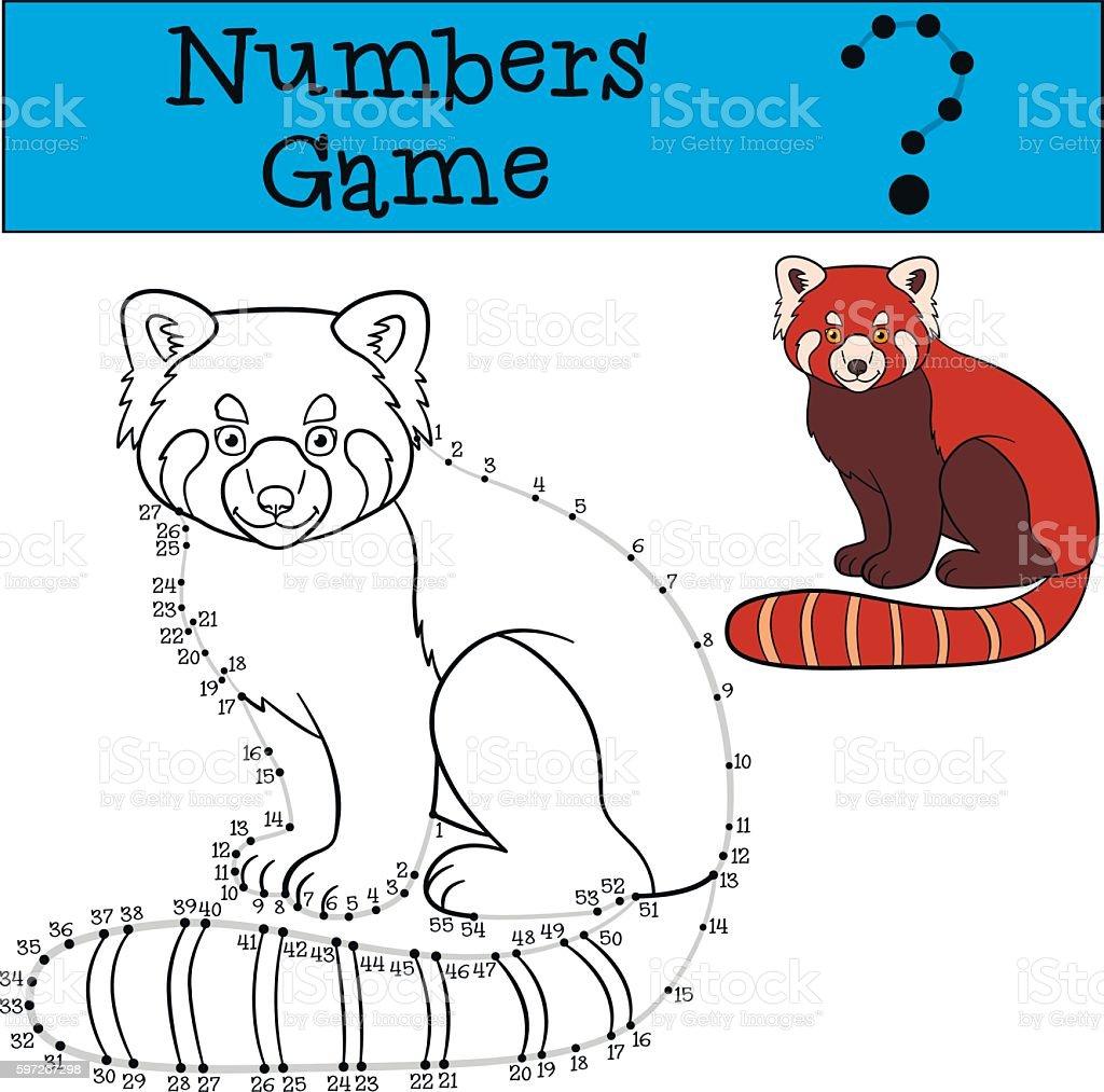 Educational game: Numbers game with contour. Little cute red pan educational game numbers game with contour little cute red pan – cliparts vectoriels et plus d'images de adversité libre de droits