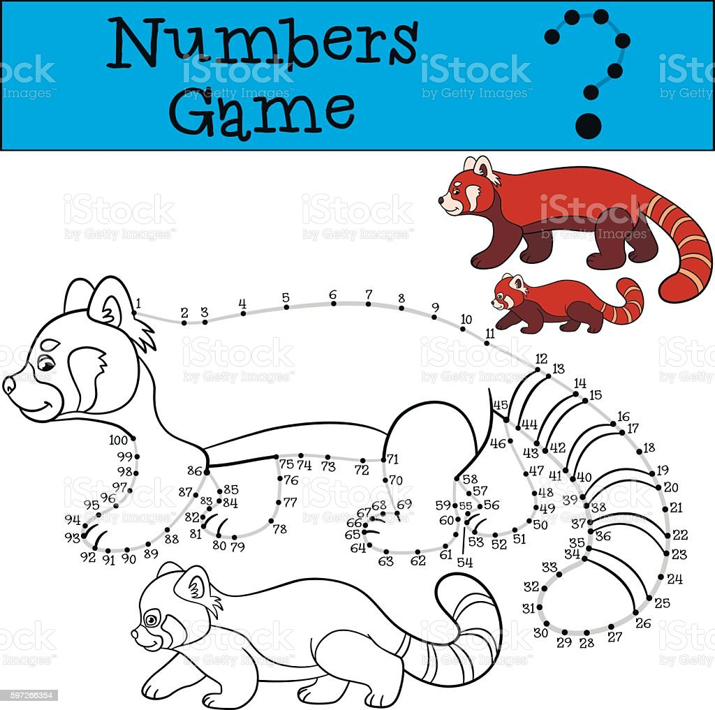 Educational game: Numbers game with contour. Red panda with baby royalty-free educational game numbers game with contour red panda with baby stock vector art & more images of adversity