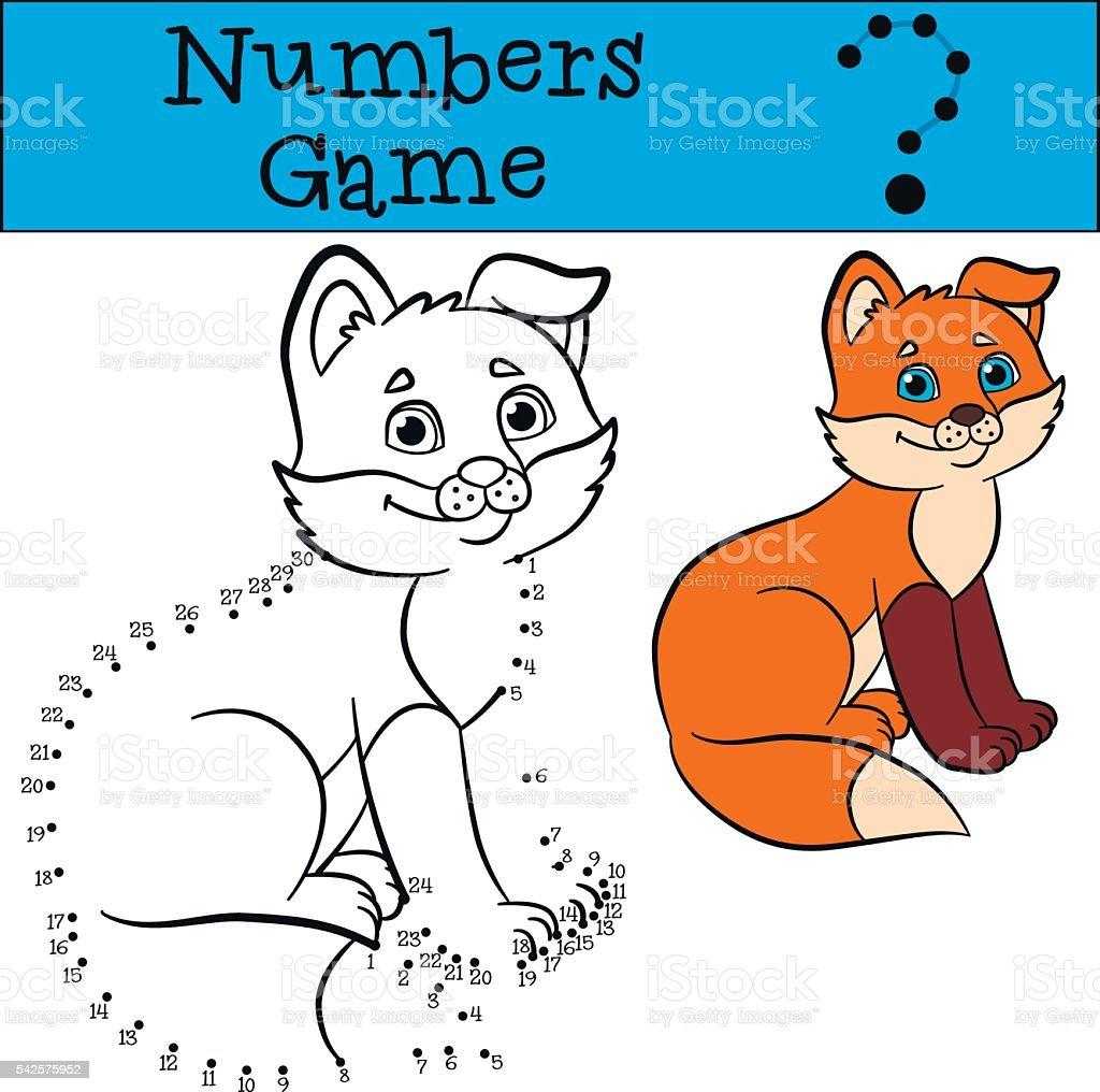 Lehrreiche Spiele Für Kinder Nummern Spiel Kleines Süßes Baby Fuchs ...