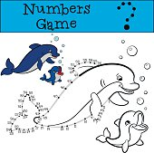 Educational games for kids: Numbers game with contour. Dolphins