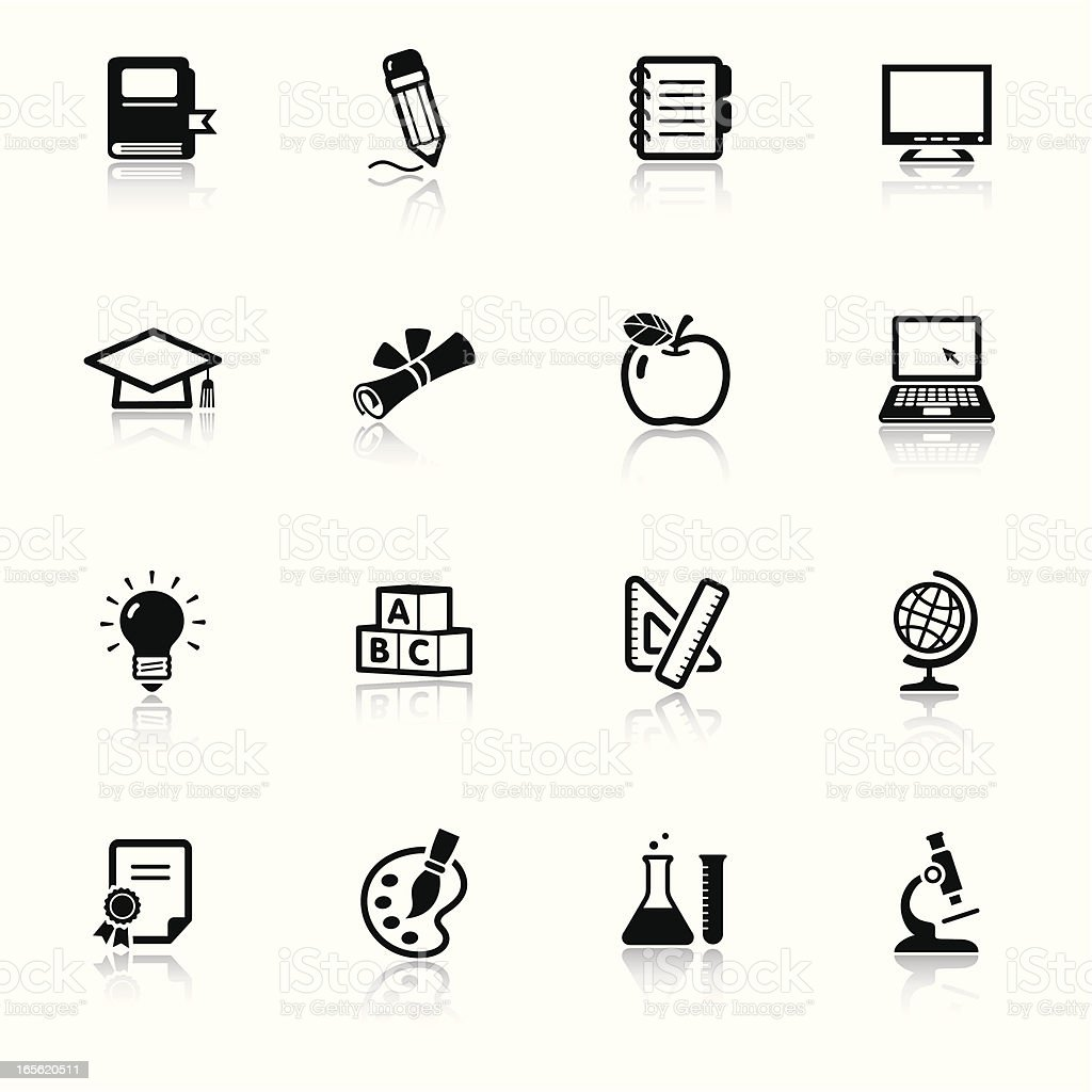 Educational icons in black and white royalty-free stock vector art