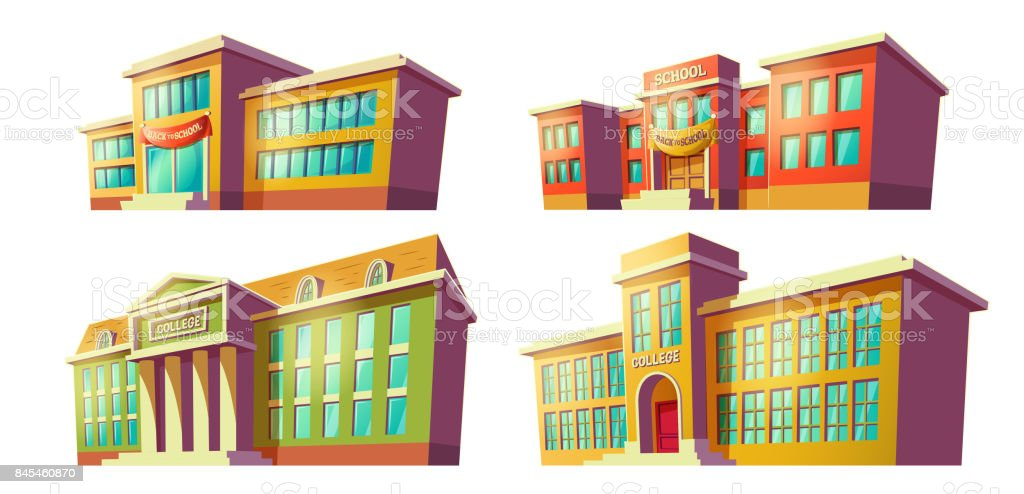 Les bâtiments des établissements d'enseignement de dessin animé vecteurs - Illustration vectorielle