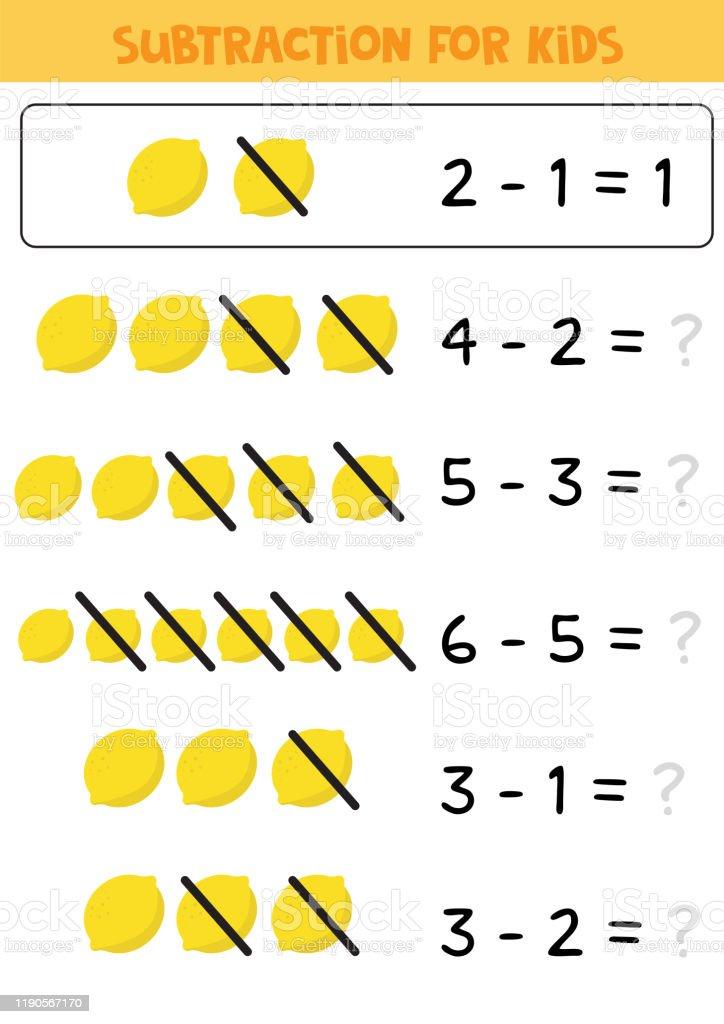 Educational Math Children Game Subtraction For Kids Math Worksheet Stock  Illustration - Download Image Now - IStock
