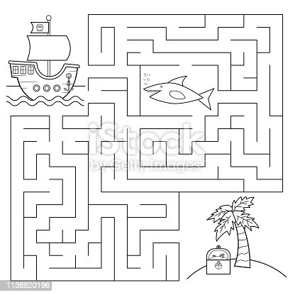Help the pirates ship find right way to the island with treasure chest, beware of shark! Coloring page. Vector illustration