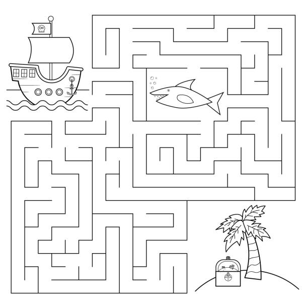 아이 들을 위한 교육 미로 게임. - 색칠하기 stock illustrations