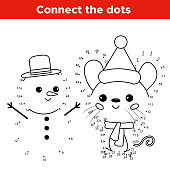 Kawaii cartoon mouse character with snowman. Activity worksheet for kids.