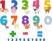 Cartoon Illustration of Educational Numbers Set from One to Nine with Happy Farm Animal Characters