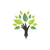 istock Educational or publishing logo design concept. Human hand and with pen icon design. 1305949837