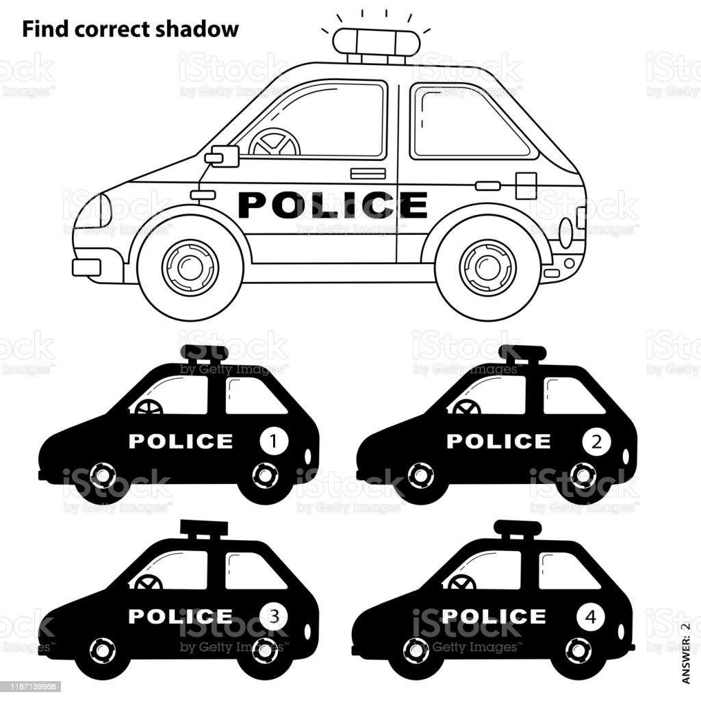 - Educational Puzzle Game For Kids Find Correct Shadow Police Car
