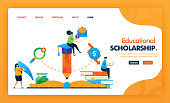 Educational scholarship landing page yellow vector concept with flat cartoon character and icon. homepage design can be use for landing page, web, mobile apps ui, poster, flyer, marketing, promotion.