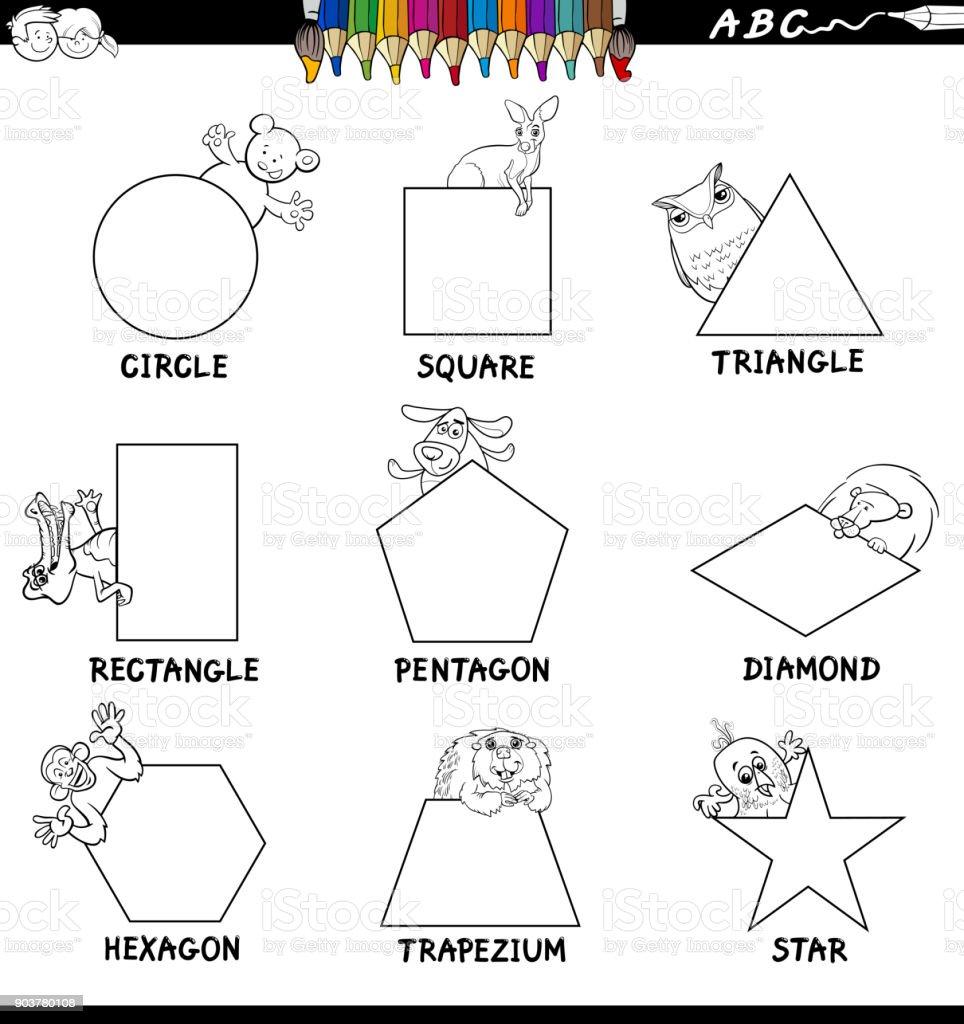 Formas Educativas Con Libro A Color Animales - Arte vectorial de ...