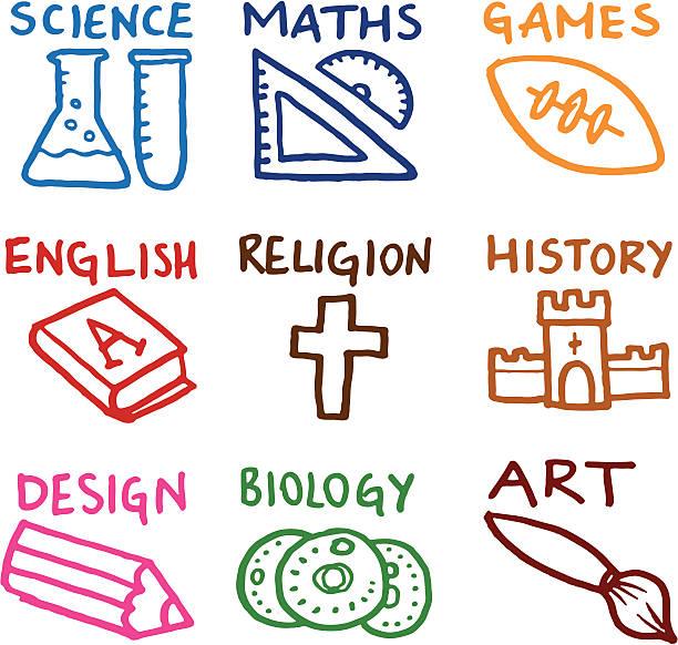 교육적이다 시험대상자 낙서 아이콘 - 잉글랜드 문화 stock illustrations