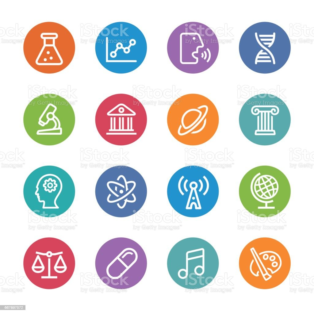 Educational Subjects Icons - Circle Line Series royalty-free educational subjects icons circle line series stock vector art & more images of arts culture and entertainment