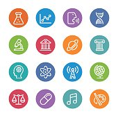 Educational Subjects Icons - Circle Line Series