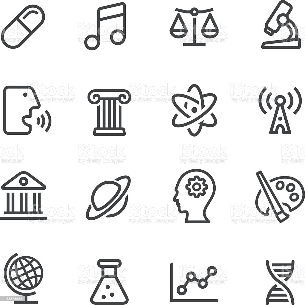 Educational Subjects Icons - Line Series vector art illustration