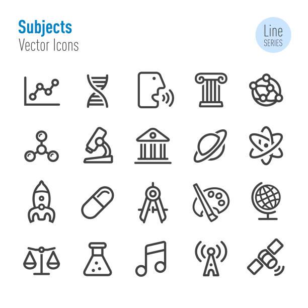 stockillustraties, clipart, cartoons en iconen met educatieve onderwerpen icons - line serie - geschiedenis