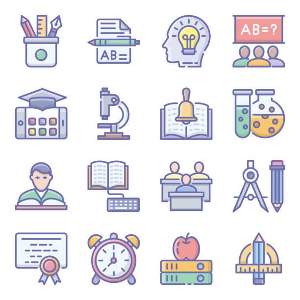 educational tools flat icons pack - bleistifthalter stock-grafiken, -clipart, -cartoons und -symbole