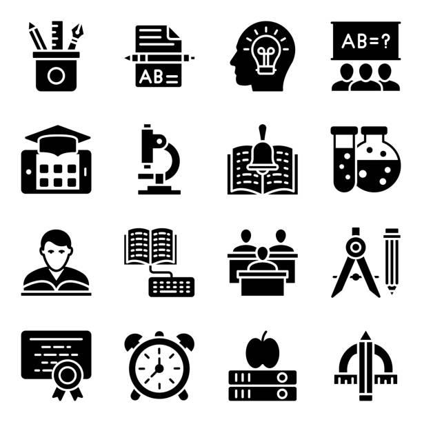 educational tools glyph icons pack - bleistifthalter stock-grafiken, -clipart, -cartoons und -symbole