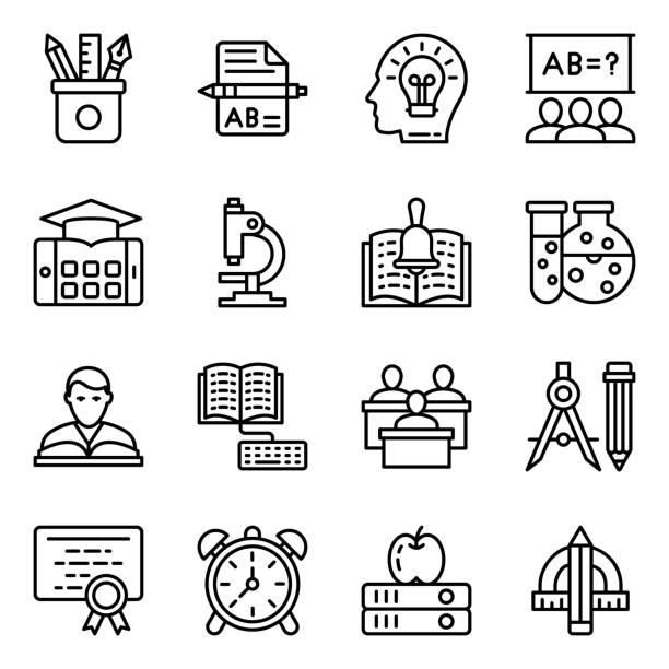 educational tools line icons pack - bleistifthalter stock-grafiken, -clipart, -cartoons und -symbole