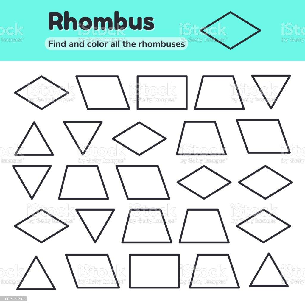 Educational Worksheet For Kids Kindergarten Preschool And School For Area Of Rhombus Worksheet
