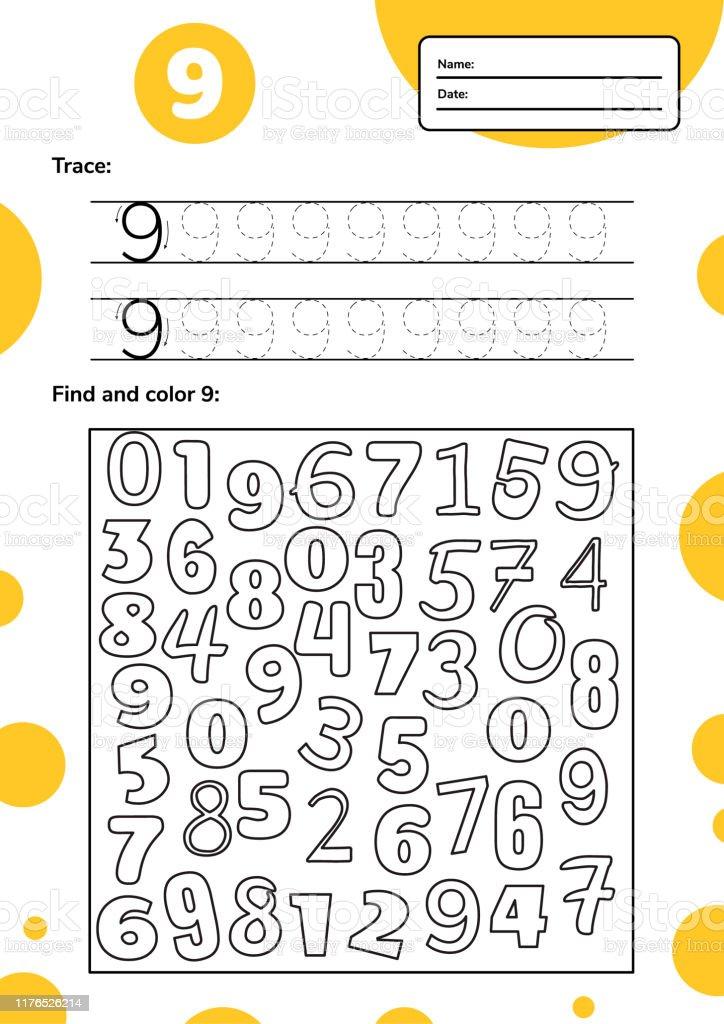 Educational worksheet for preschool and school kids. Number game for...