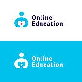 Online eductaion logo concept/ Vector design flat illustration.