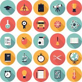 Modern flat icons vector collection with long shadow in stylish colors on high school and colledge education with teaching and learning symbol and object. Isolated in colored circle on white background.