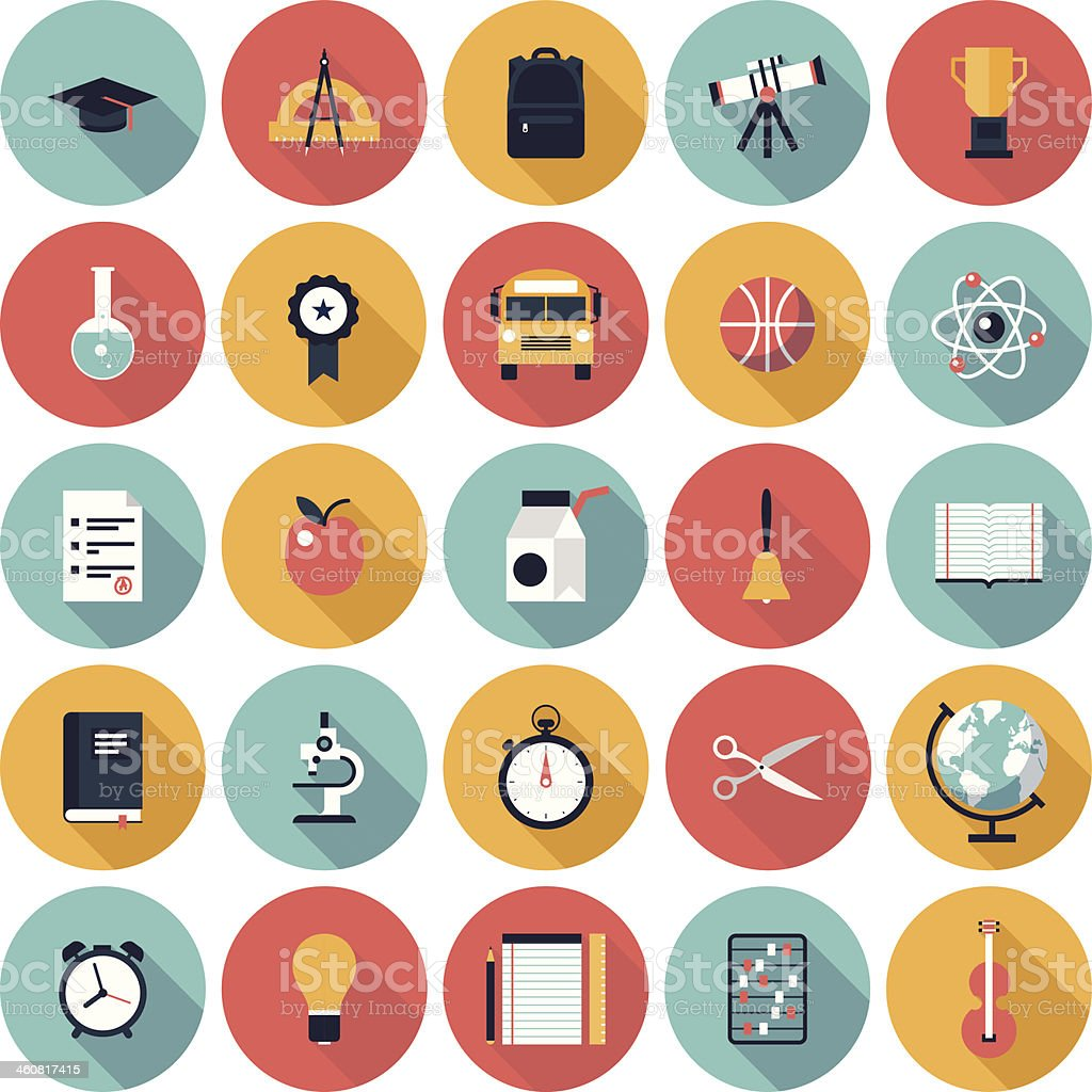 Education-related icons vector art illustration