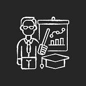 istock Educators chalk white icon on black background 1284138506