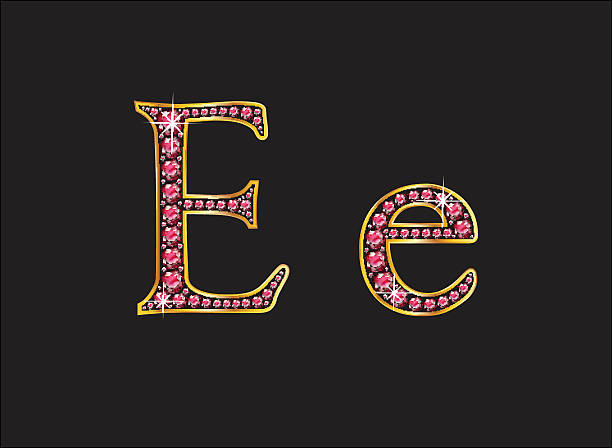 Ee Ruby Jeweled Font with Gold Channels vector art illustration